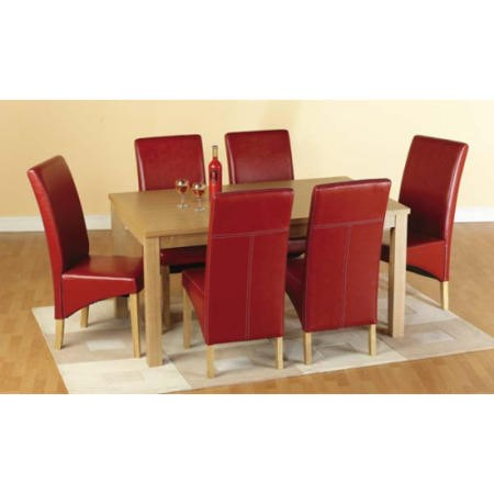 Seconique Belgravia Oak Dining Set + 6 Red Faux Leather Dining Chairs