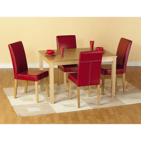 Seconique Oakmere Oak Dining Set & 4 Red Faux Leather Dining Chairs
