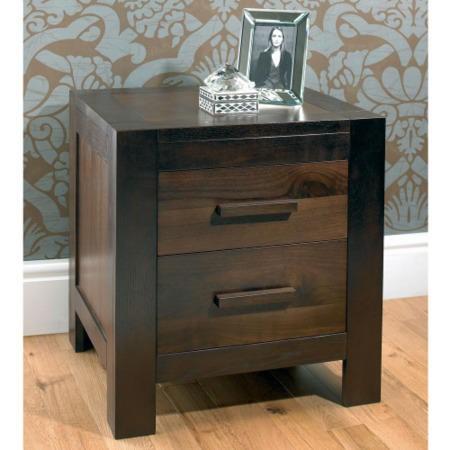 Bentley designs lyon walnut 2 drawer bedside table for Furniture 123