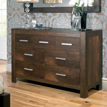 Bentley designs lyon walnut 4 3 drawer dresser furniture123 for Bentley designs bedroom furniture