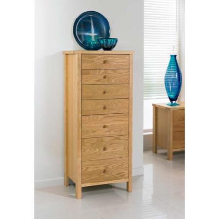 bentley designs atlantis pale oak 7 drawer tall chest furniture123. Black Bedroom Furniture Sets. Home Design Ideas