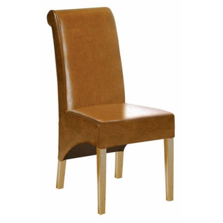 Morris Furniture Grange Roll Back Leather Dining Chair Tan Leather