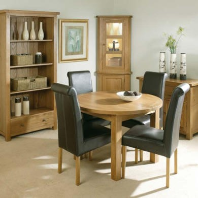 Morris Furniture Grange Round Extending Dining Set - with 4 brown leather chairs