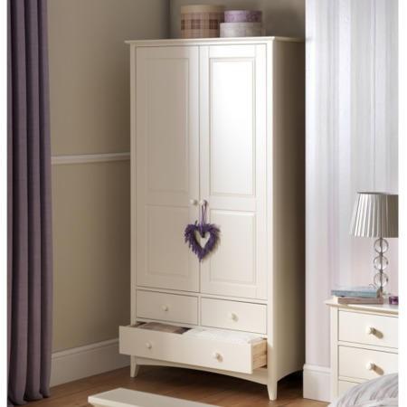 Julian bowen cameo combination wardrobe in stone white for Furniture 123 wardrobes