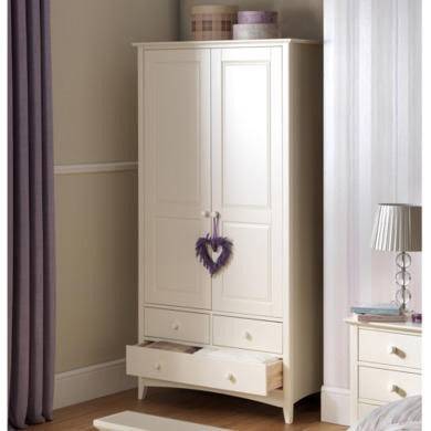 Julian Bowen Cameo Double Wardrobe with Drawers in Stone White