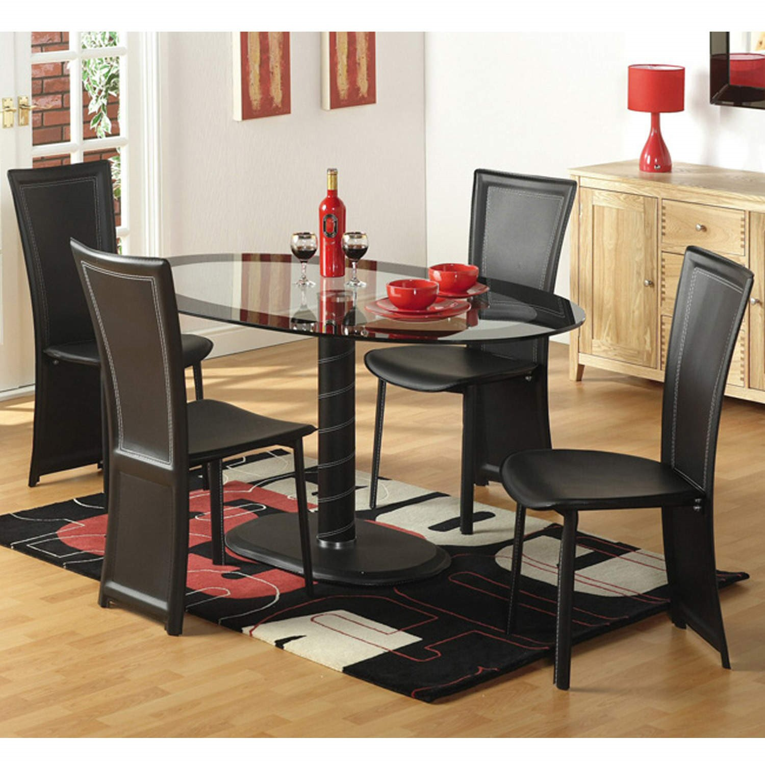 Seconique Cameo Oval Dining Set 4 Black Faux Leather Dining Chairs