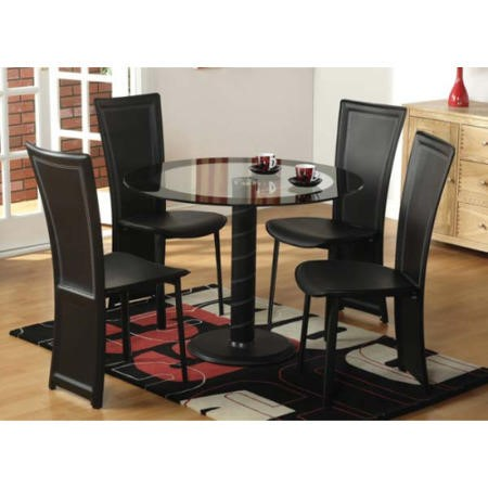Seconique Cameo Round Glass Dining Set + 4 Black Dining Chairs