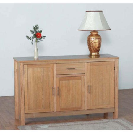 GRADE A1 - Seconique Oakleigh Oak Sideboard with 3 Doors & 1 Drawer with Sleek Chrome Handles