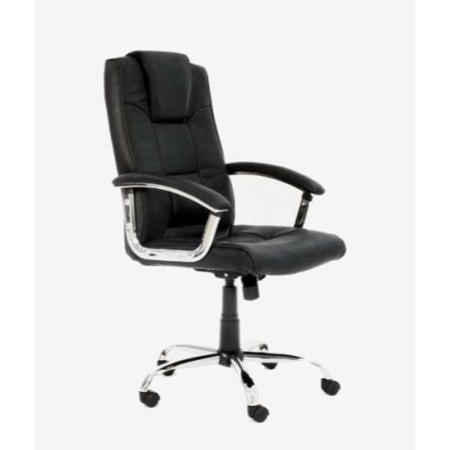 Alphason Designs Houston Leather Faced High Back Executive Chair in Black