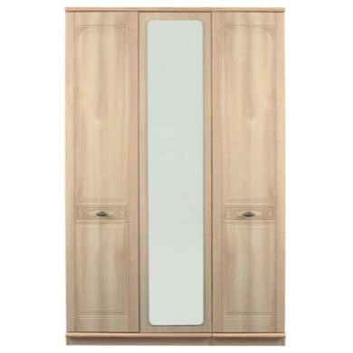 Caxton furniture florence 3 door wardrobe with mirror for Furniture 123 wardrobes