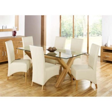 Bentley Designs Lyon Oak Rectangular Glass Dining Set with 6 Ivory Dining Chairs