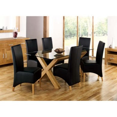 Bentley Designs Lyon Oak Rectangular Glass Dining Set in Black