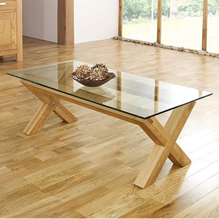 Bentley Designs Lyon Oak Glass Coffee Table Furniture123