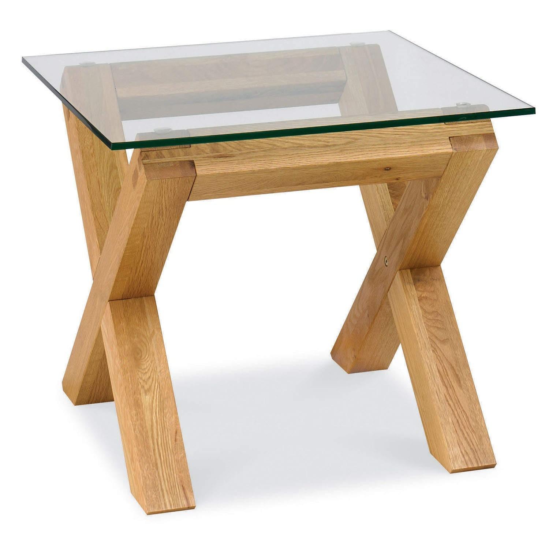 Bentley Designs Lyon Oak Glass Lamp Table Furniture123