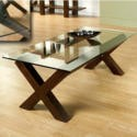 FOL055320 Bentley Designs Lyon Walnut Glass Coffee Table