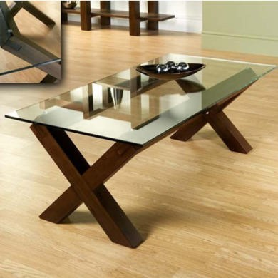 Bentley Designs Lyon Walnut Glass Coffee Table