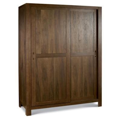 Bentley designs lyon walnut sliding door large double for Furniture 123 wardrobes
