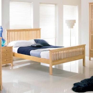 bentley designs atlantis pale oak bed double with 1 bedside table furniture123. Black Bedroom Furniture Sets. Home Design Ideas