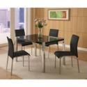 FOL055982 Seconique Charisma High Gloss Dining Set- Black High Gloss Dining Table & 4 Black Fabric Dining Chairs