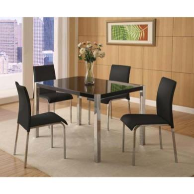 Seconique Charisma High Gloss Dining Set- Black High Gloss Dining Table & 4 Black Fabric Dining Chairs