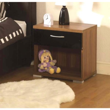 Seconique Hollywood Walnut and High Gloss 1 Drawer Bedside Cabinet