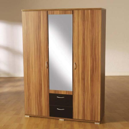 Seconique Hollywood Walnut And High Gloss 3 Door Mirrored