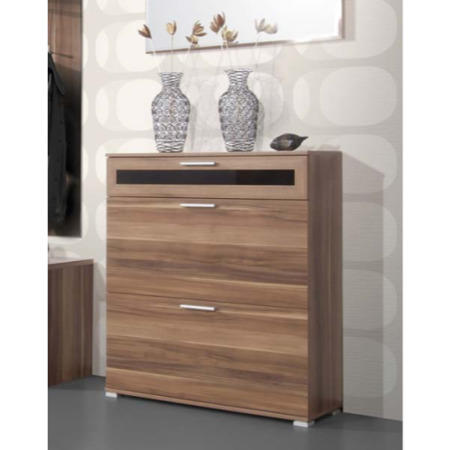 Alaska Narrow Walnut Shoe Storage Cabinet With 2 Shoe Rack