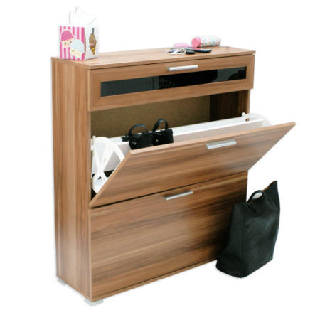 Alaska shoe cabinet in walnut 16 pairs furniture123 for Mueble zapatero 24 pares