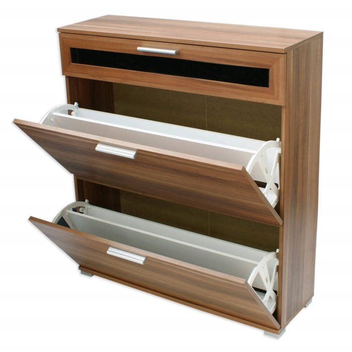 Alaska shoe cabinet in walnut 16 pairs furniture123 for Bathroom cabinets 70cm wide