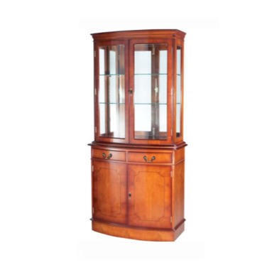Kelvin Furniture Georgian Reproduction Bow 2 Door Display Cabinet - yew