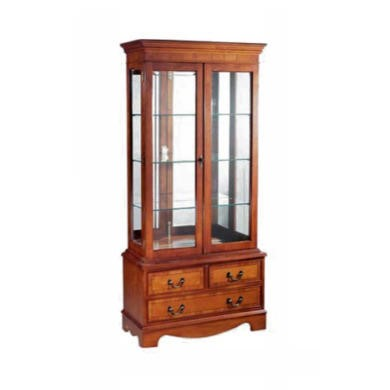 Kelvin Furniture Georgian Reproduction Curio 3 Drawer 2 Door Display Cabinet in Yew