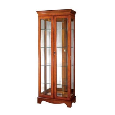 Kelvin Furniture Georgian Reproduction Curio 2 Door Display Cabinet in Mahogany