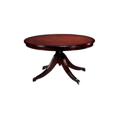 Kelvin Furniture Georgian Reproduction Medium Single Pedestal Oval Coffee Table - mahogany