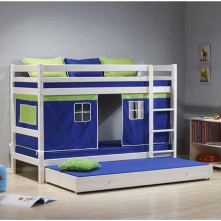 Thuka Minnie Solid Pine White Bunk Bed With Blue Tent And Trundle
