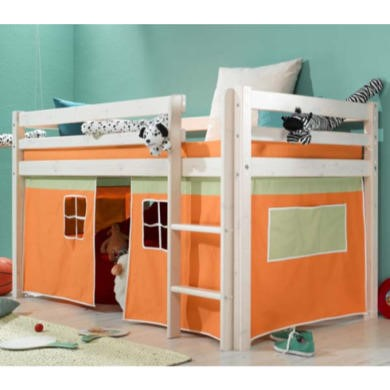 Thuka Minnie Solid Pine White Midsleeper Bed with Orange Tent - without mattress
