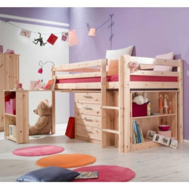 Thuka Minnie Solid Pine Natural Midsleeper Bed with Pull Out Desk Chest and Bookcase - without mattress