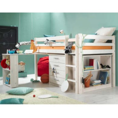 Thuka Minnie Solid Pine White Midsleeper Bed with Pull Out Desk Chest and Bookcase - without mattress