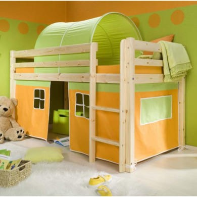 Thuka Minnie Solid Pine Natural Midsleeper Bed with Orange Tent and Green Tunnel - without mattress