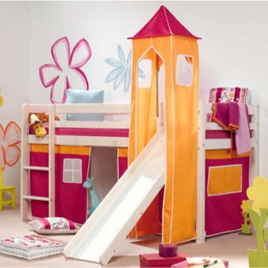Thuka Minnie Solid Pine White Midsleeper Bed with Pink Tent Orange Tower and Slide - without mattress
