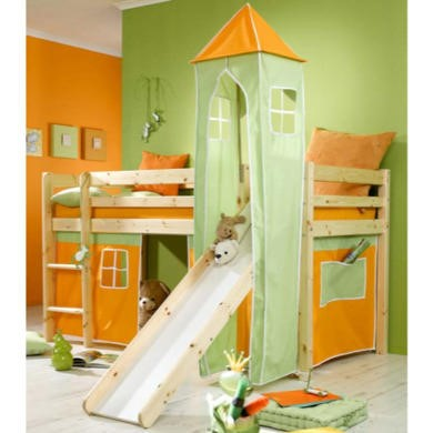 Thuka Minnie Solid Pine Natural Midsleeper Bed with Orange Tent Green Tower and Slide - without mattress