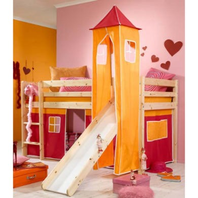 Thuka Minnie Solid Pine Natural Midsleeper Bed with Pink Tent Orange Tower and Slide - without mattress