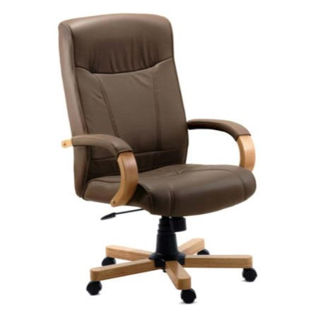 Teknik Office Richard Leather Faced Executive Chair in Light Oak