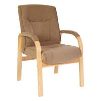 Teknik Office Gainsborough Faux Suede Reception Chair in Light Oak