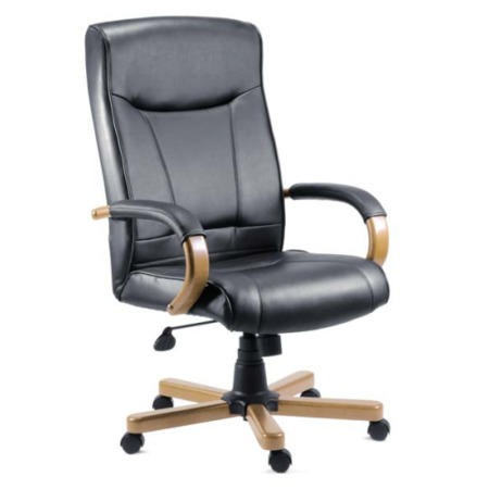 Teknik Office Kingston Leather Faced Executive Chair in Light Oak