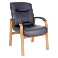 Teknik Office Kinsley Leather Faced Reception Chair in Light Oak
