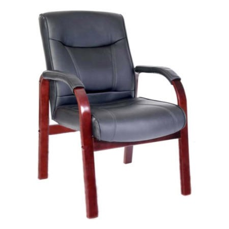 Teknik Office Kinsley Leather Faced Reception Chair in Mahogany