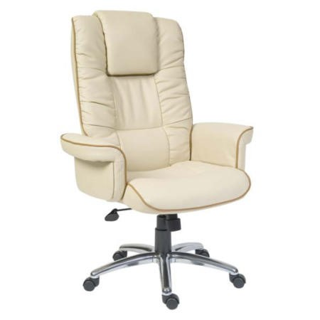 Teknik Office Windsor Leather Faced Executive Chair in Cream