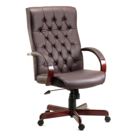 Dark Red Leather Tufted Office Chair - Teknik Office Warwick