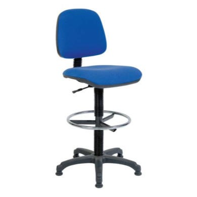 Teknik Office Pryce Swivel Textile Gas Lift Draughtsman Chair  draughting chair in blue