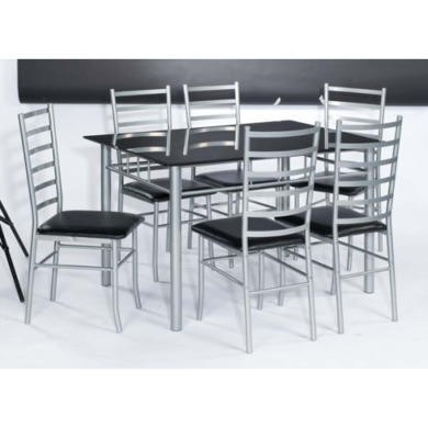 LPD Lincoln Rectangular Dining Set with Black Glass Top